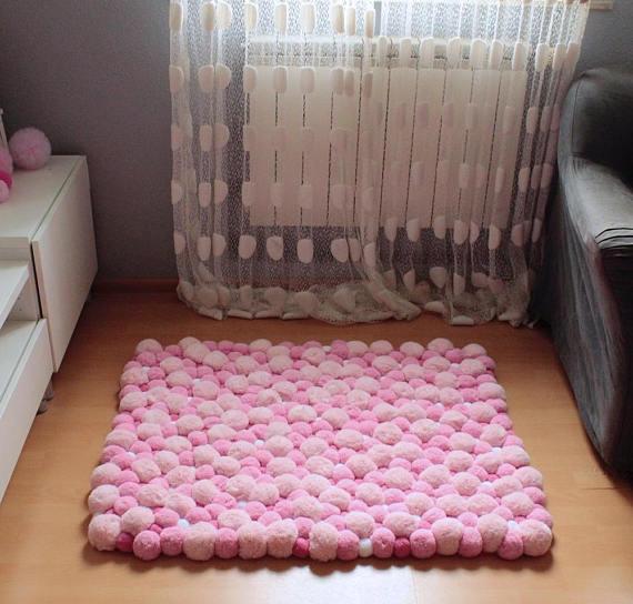 Pom Pom Rug Pompom Rug Heart Rug Teen Room Decor Nursery Rug